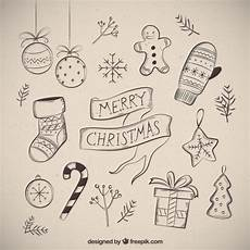 merry christmas with several drawings free vector