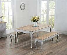 Parisian 175cm Grey Shabby Chic Dining Table With Benches