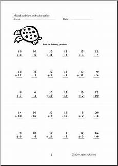 subtraction worksheets for grade 1 up to 20 10297 worksheet mixed practice 1 20 set 2 abcteach