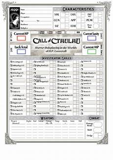 fillable 1920s call of cthulhu character sheet printable pdf download