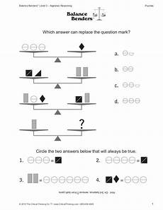 algebraic reasoning balance benders worksheet for 5th 7th grade actividades de matematicas