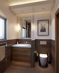 Kleine Badezimmer Design - kleines badezimmer trennwand waschkonsole holz toilette