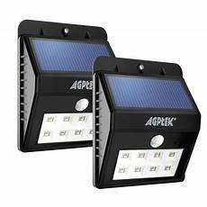 agptek solar lights 2 8 led bright solar powered security lights with motion sensor