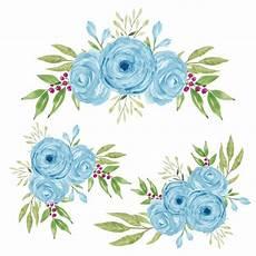 aquarell handbemalte blaue rosenblumenstrau 223 kollektion