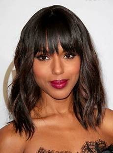 medium brunette hairstyles with bangs beauty riot