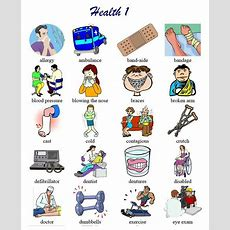 Health Vocabulary List With Pictoral Support Good For Newcomers And Low English Proficiency