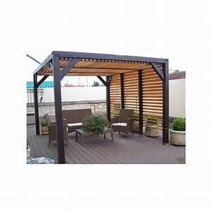 Toit Pergola Bois : pergola en bois au toit plat avec ventelles ~ Dode.kayakingforconservation.com Idées de Décoration