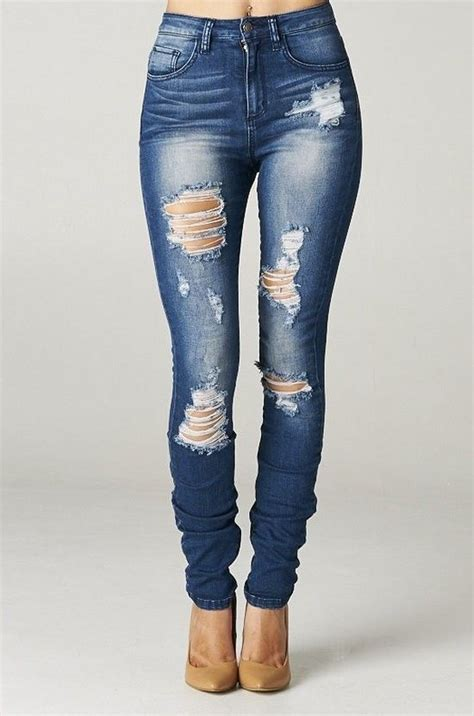 High Rise Destroyed Skinny Jeans Ripped Womens Dark Blue ...