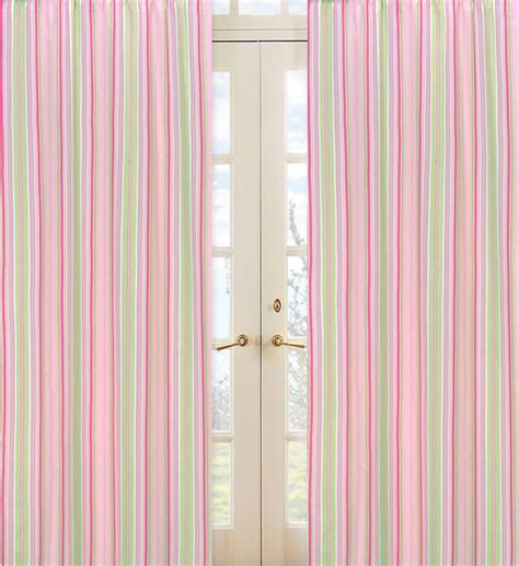 pink and green stripe 84 inch curtain panel pair