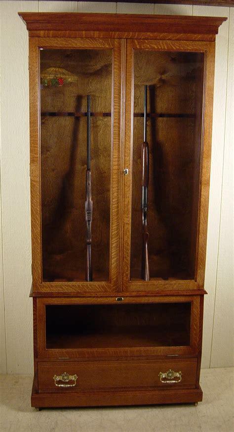 built in gun cabinet custom made quartered oak gun cabinet