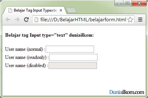 fungsi dan cara penggunaan tag input type text dan type