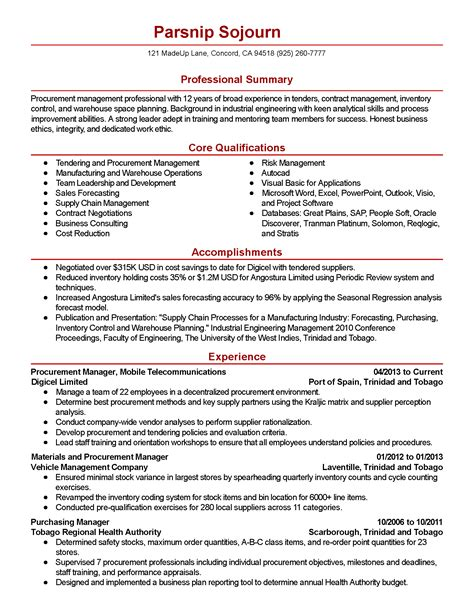 procurement manager resume summary professional procurement manager templates to showcase your talent myperfectresume