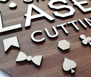 blackwood base with raised plywood letters online laser With laser cut out letters
