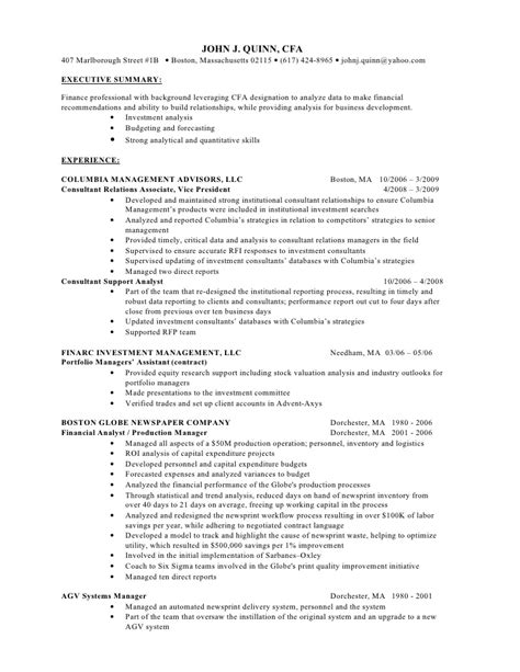 j quinn cfa finance resume