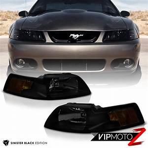 1999 2000 2001 2002 2003 2004 Ford Mustang Black Smoke Front Headlights Lamp SET | eBay