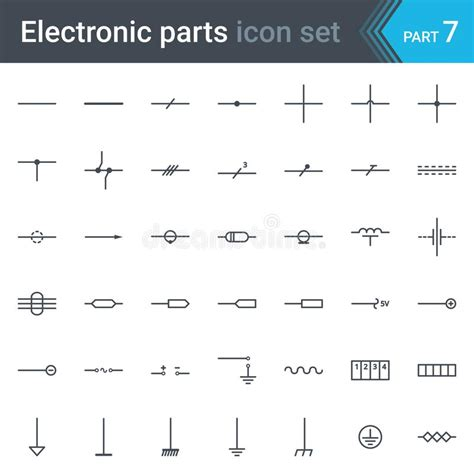 electric and electronic circuit diagram symbols set of