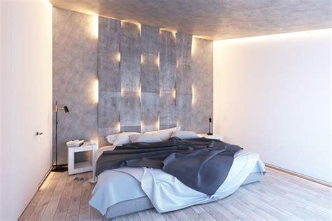 modern bedroom lighting  textured accent wall