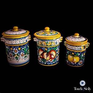 Italian Pottery Canister Set Pattern C Kitchen