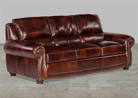 Top Grain Brown Leather Sofas With Nailheads