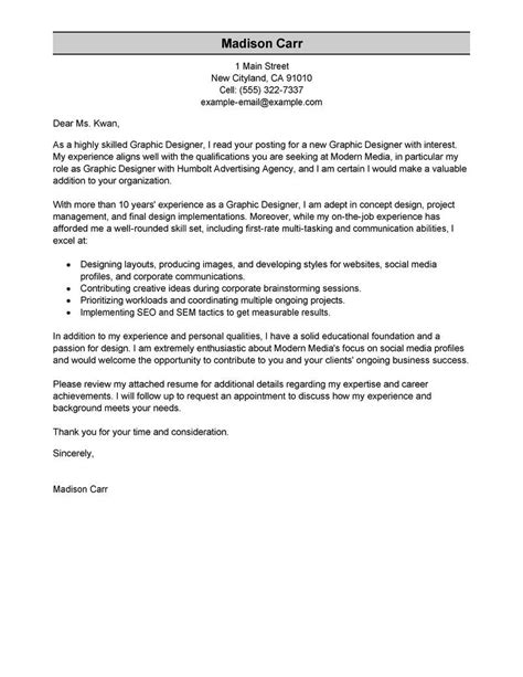 Best Resume And Cover Letter by Best Graphic Designer Cover Letter Exles Livecareer