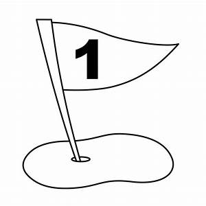 Black and White Golf Flag Clipart - The Cliparts