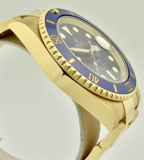 New 2018 Rolex 116618 Submariner 18k Yellow Gold Blue 40mm ...