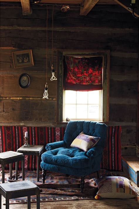 Anthropologie Home Decor  Woodsy Room, Blue Tufted Chair