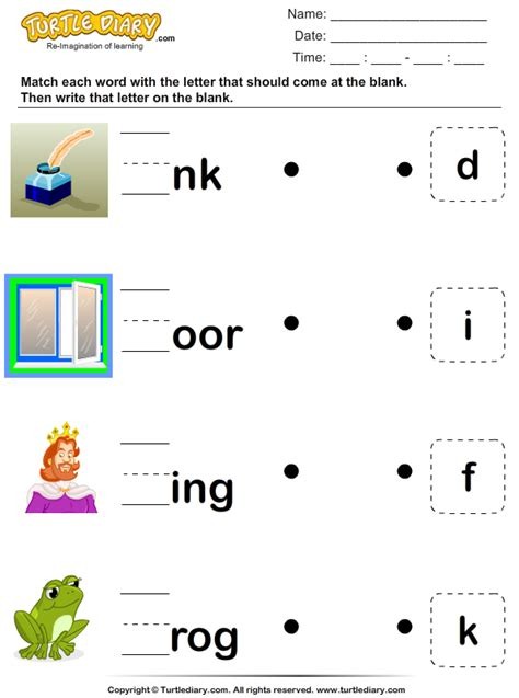 identify  missing letter worksheet turtle diary