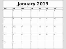 January 2019 Print Monthly Calendar