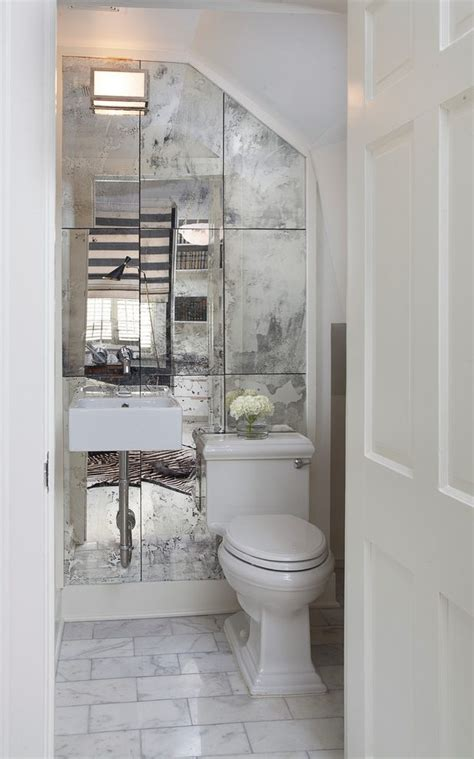 mirrored accent wall powder room traditional  white