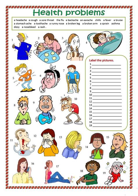 health problems worksheet  esl printable worksheets