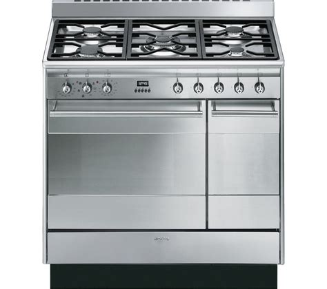 smeg gas range cookers buy smeg concert 90 cm dual fuel range cooker stainless steel free delivery currys