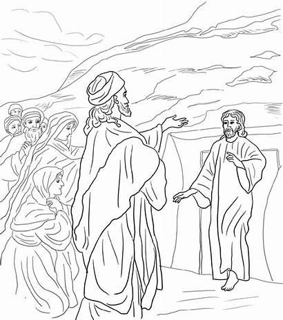 Lazarus Coloring Jesus Pages Raises Dead Worksheets