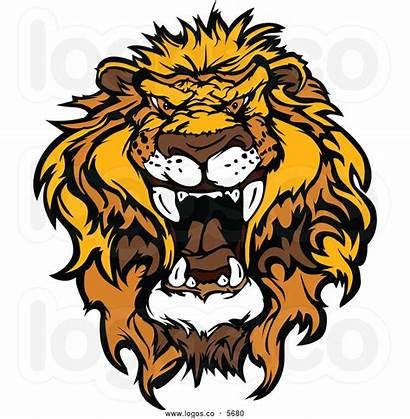 Lion Head Clipart Roaring Mad Cartoon Vector