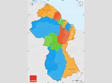 Political Simple Map of Guyana, single color outside