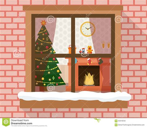 Xmas Curtain Lights by Christmas Room Through The Window Stock Vector Image
