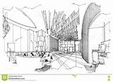 Sketch Interior Lobby Perspective Pattern sketch template