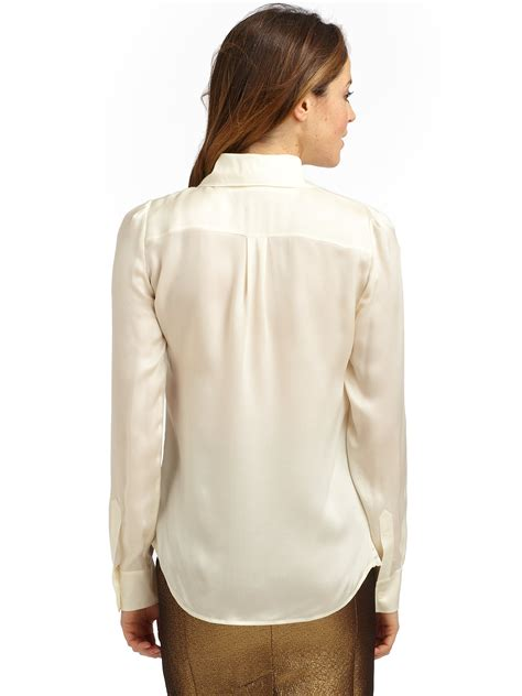 cheap blouses lyst boutique moschino silk satin ruffle blouse in white