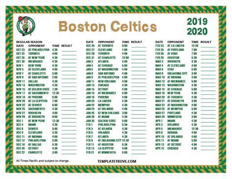 printable   boston celtics schedule