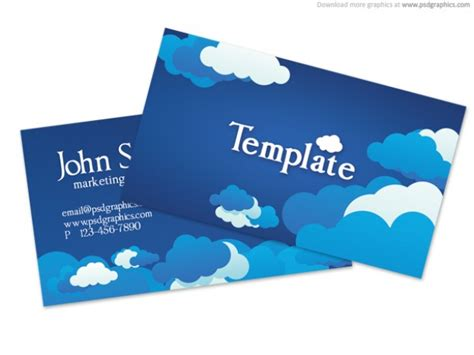 Blue Cloudy Sky Business Card Template (psd) Psd File Business Card Print London Plan Mission Vision Example App Home Template For Cards Digital Printing Front And Back Canberra