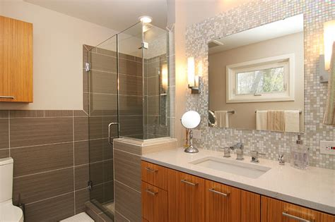 bathroom vanity with glass tile backsplash mosaic glass