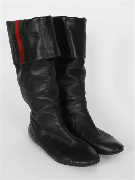 gucci black leather web detail high boots  luxury bags