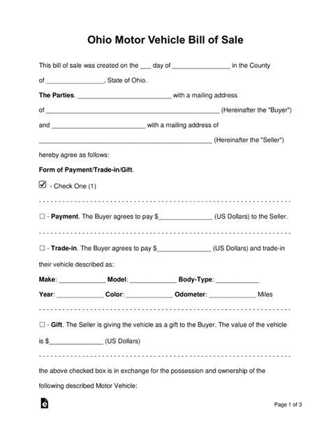 florida proof of vin form free ohio motor vehicle bill of sale form pdf word