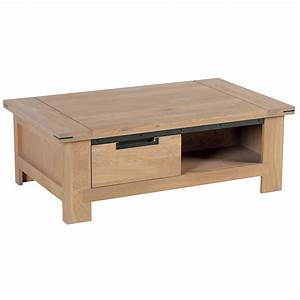Table Basse Tiroir : table basse chene cire metal patine 1m15 ambiance meubles ~ Teatrodelosmanantiales.com Idées de Décoration