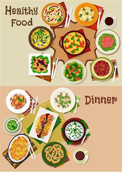 Dinner Healthy Vector Template Ham Clipart Beef