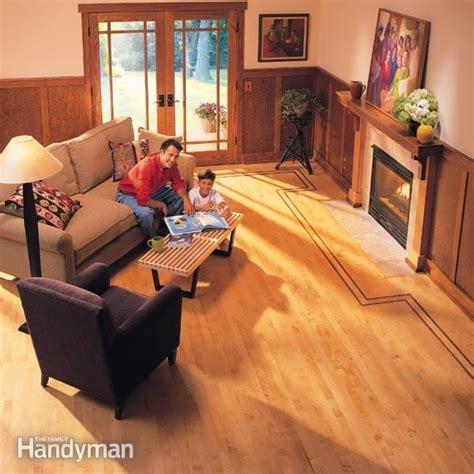 lay hardwood floor  contrasting border family