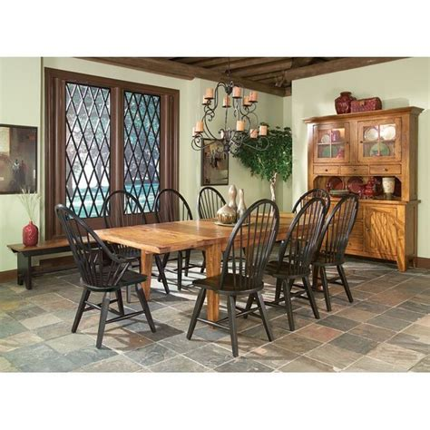 rustic traditions dining room set  black chairs intercon