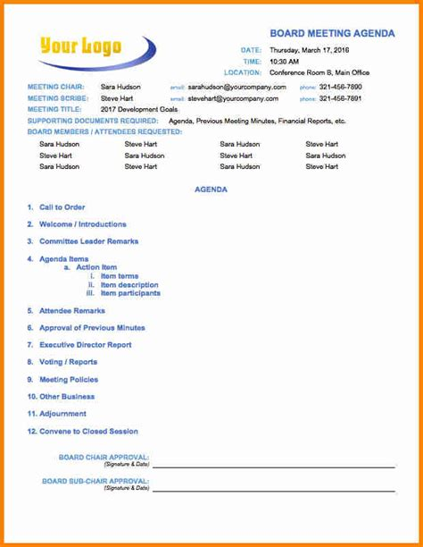 Agenda Template 9 Exle Of An Agenda Template Penn Working Papers