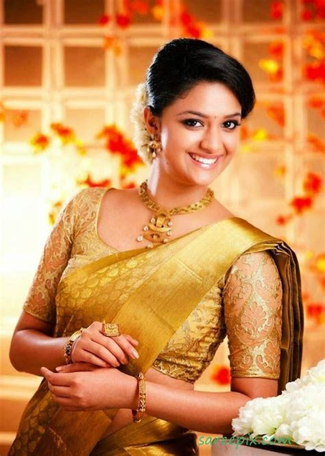 actress keerthi suresh in saree bridal silk saree actress keerthi suresh