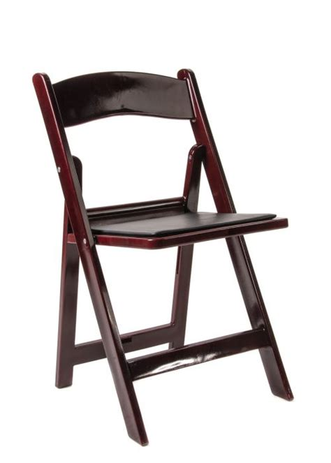 mahogany resin folding chair  black vinyl padded seat